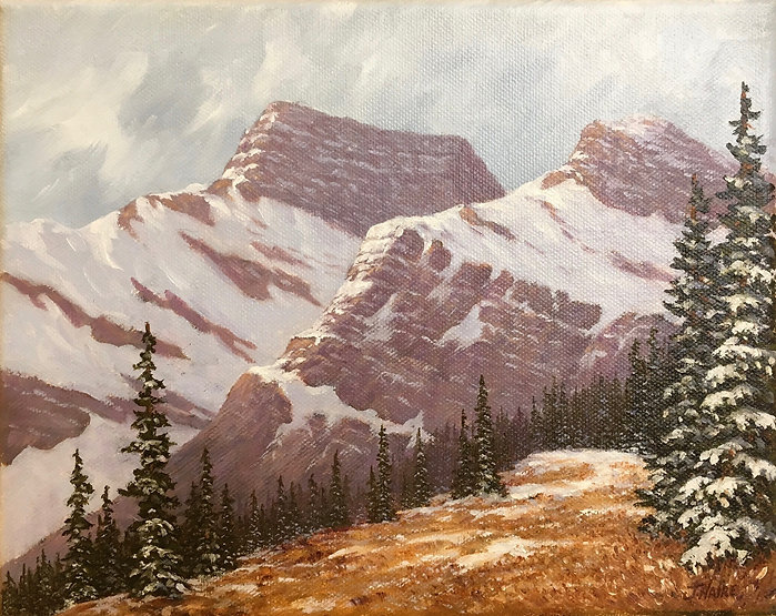 multi-colour oil painting titled SOLD - Winter Comes to High Country by artist joe haire.