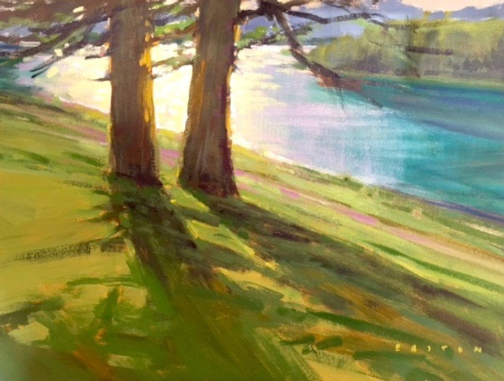 multi-colour arcylic painting titled Old Friends at Lac Beauvert by artist charlie easton