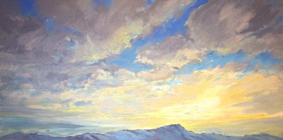 multi-colour arcylic painting titled Ridgeline Sunrise by artist charlie easton.