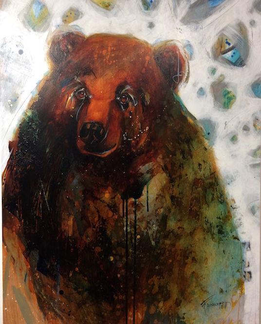 Multi-colour arcylic painting of a bear titled Bear Love by artist fran alexander