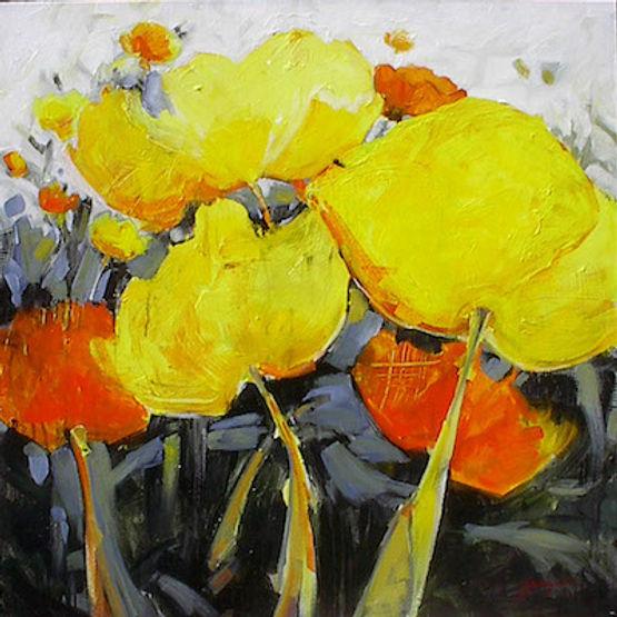 multi-colour acrylic painting titled Found Rhythms by artist gail johnson.