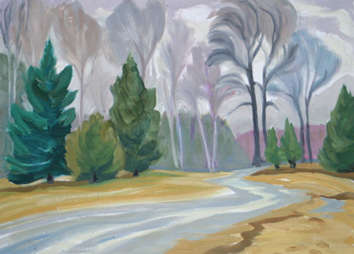 multi-colour oil painting titled Thompson Drive 2000 by artist doris mccarthy.