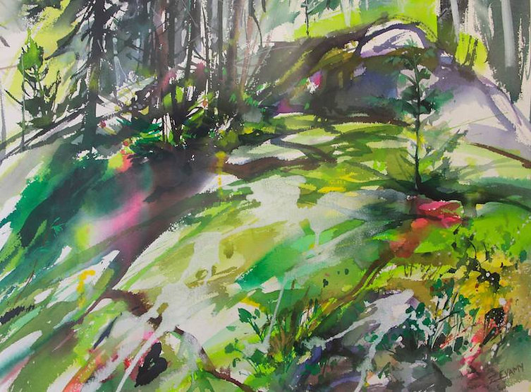 multi-colour arcylic painting titled Mossy Ridgeg by artist zoe evamy