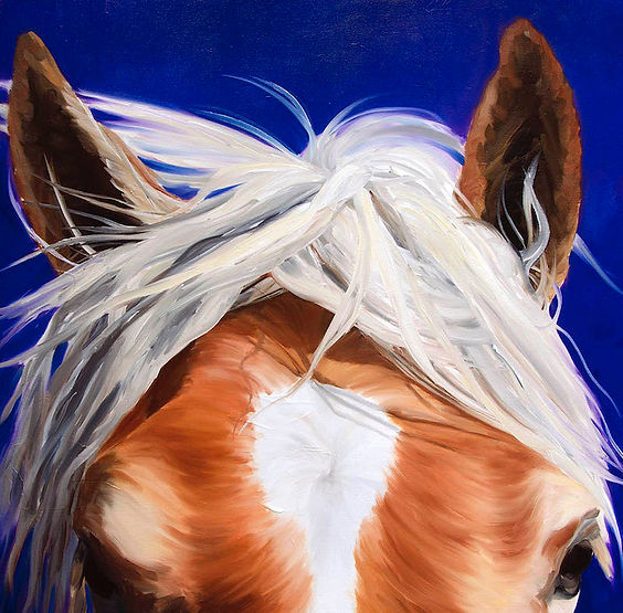 multi-colour oil painting titled Bad Hair Day by artist bigoudi