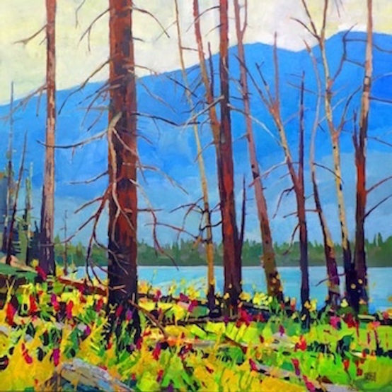 multi-colour arcylic painting titled Fireweed by Lake by artist randy hayashi.