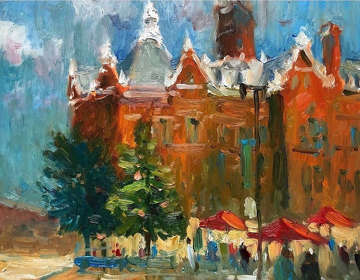 multi-colour oil painting titled Lunch Time in the Square by artist peter cheung