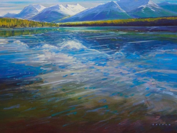 multi-colour arcylic painting titled Herbert Lake Reflections by artist charlie easton