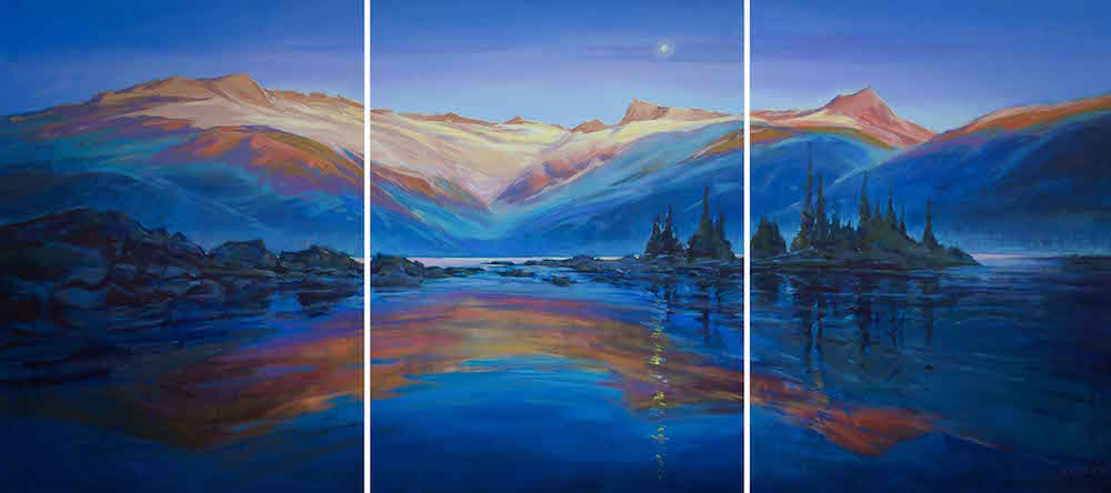 multi-colour arcylic painting titled Garibaldi Lake Glow (triptych) by artist charlie easton