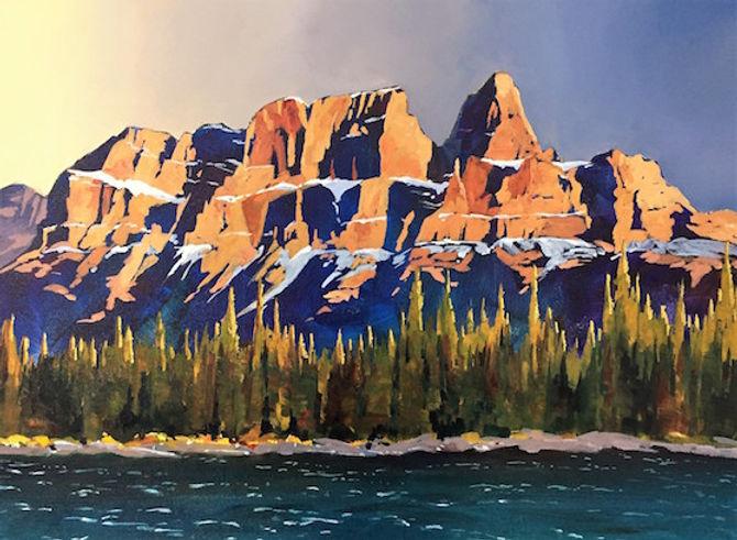 multi-colour acrylic painting titled Last Light on Castle Mountain by artist phillipa hudson.