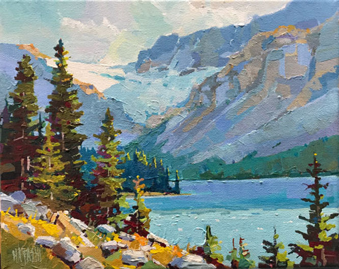 multi-colour arcylic painting titled SOLD-Crowfoot Glacier by artist randy hayashi.