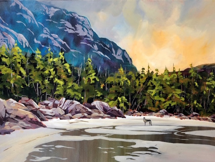 multi-colour acrylic painting titled Sea Wolf in the Great Bear Rain Forest by artist phillipa hudson.