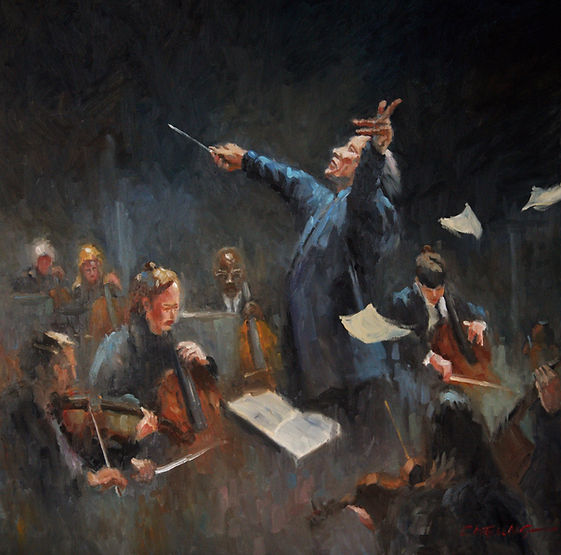 multi-colour oil painting titled SOLD-Symphony by artist peter cheung