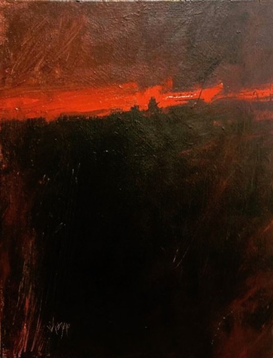 multi-colour oil painting titled Red Sky at Night by artist david sharpe.