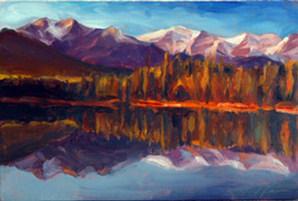 multi-colour oil painting titled Perfect Reflection by artist michael downs
