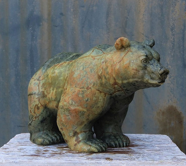 brazilian soapstone sculptor titled Chinook Bear by sculptor andrew gable.