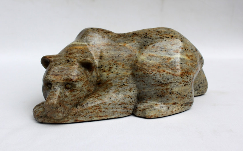 soapstone scupture titled SOLD- Chin Up by sculptor roy hinz.