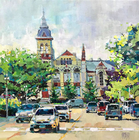 multi-colour arcylic painting titled Perth County Court House by artist randy hayashi.