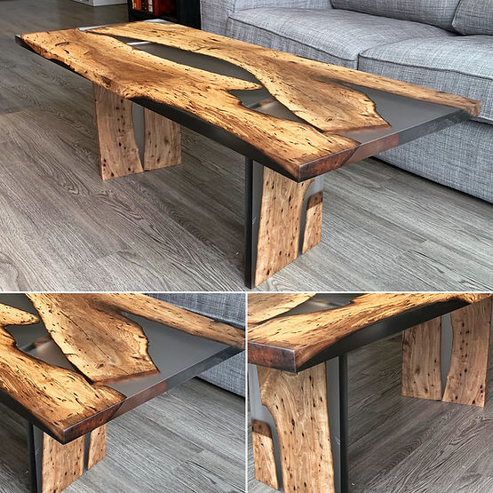 furninture titled SOLD-English Walnut & Resin Coffee Table by artist benjamin mclaughlin.