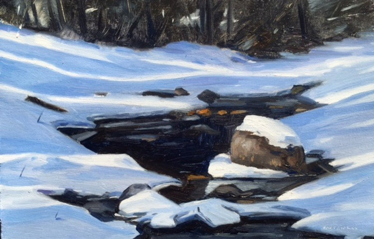 multi-colour oil painting titled SOLD Maligne River (winter) by artist  jason bartziokas