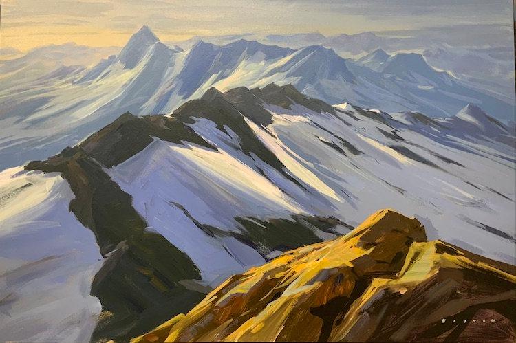 multi-colour arcylic painting titled Tantalus Ridge Walk by artist charlie easton
