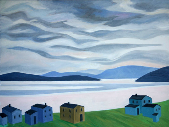 multi-colour oil painting titled Sky and Hills 2004 by artist doris mccarthy.
