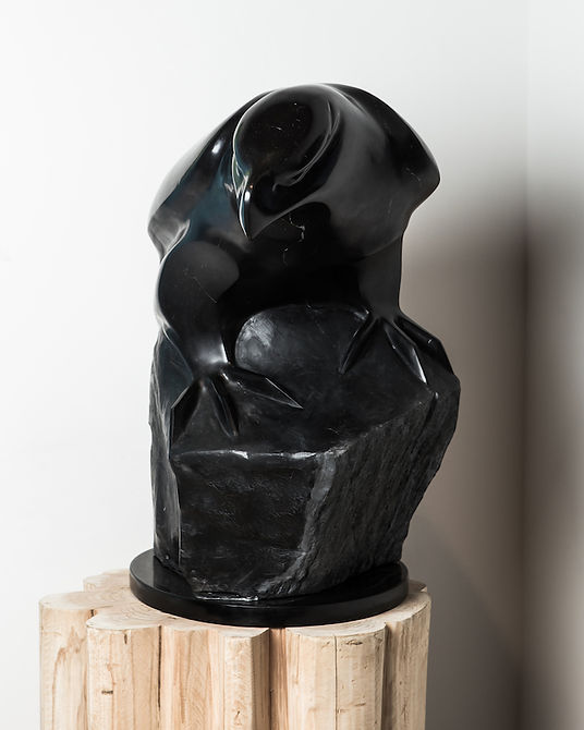 argillite sculpture titled SOLD-The Guardian - View 2 by sculptor cathryn jenkins.