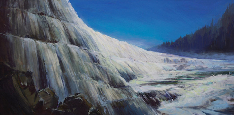 multi-colour arcylic painting titled Dawson Falls Charging by artist charlie easton