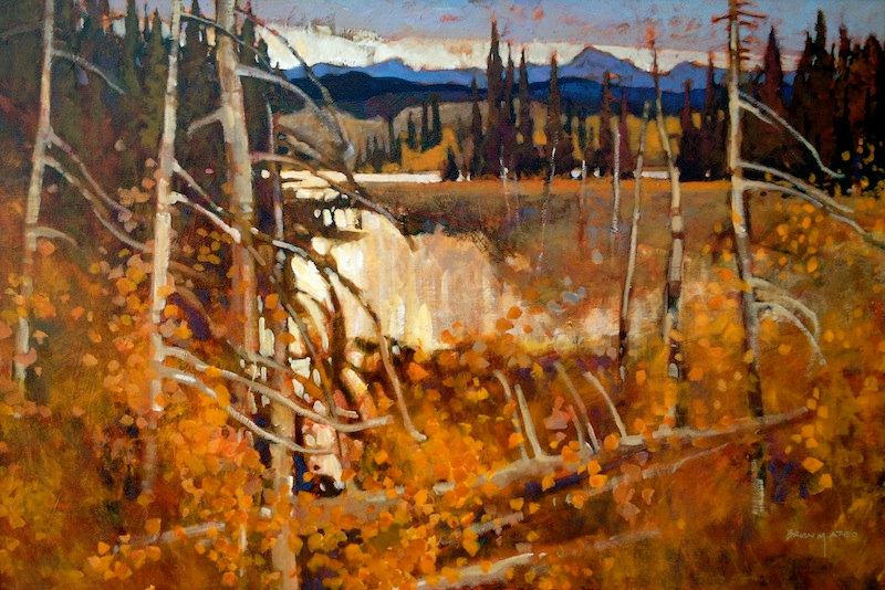 multi-colour arcylic painting titled Pastoral Autumn by artist brian atyeo