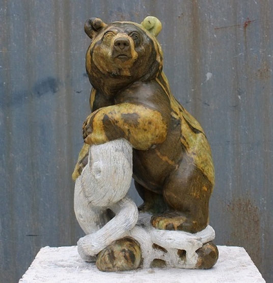 soapstone sculptor titled SOLD-Guardian by sculptor andrew gable.