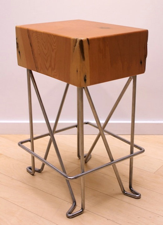 Beam end and chrome stool titled Beam End Stool by aviation furniture designer arnt arntzen