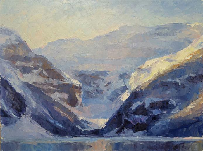 multi-colour oil painting titled Lake louise splendor by artist michael downs