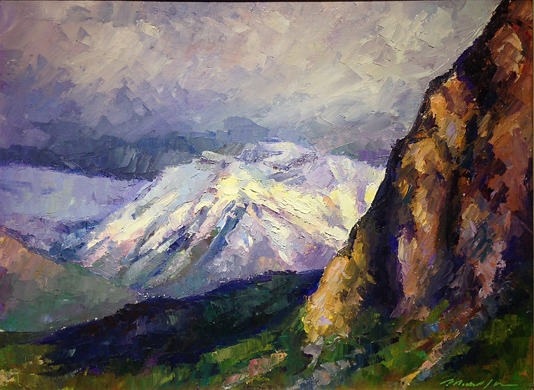 multi-colour arcylic painting titled SOLD-Changing Light, Bow Valley by artist michael downs