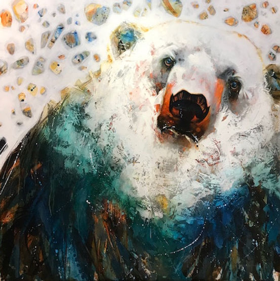 Multi-colour arcylic painting of a bear titled SOLD-North Star by artist fran alexander