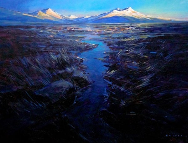 multi-colour arcylic painting titled Maligne Lake Evening by artist charlie easton