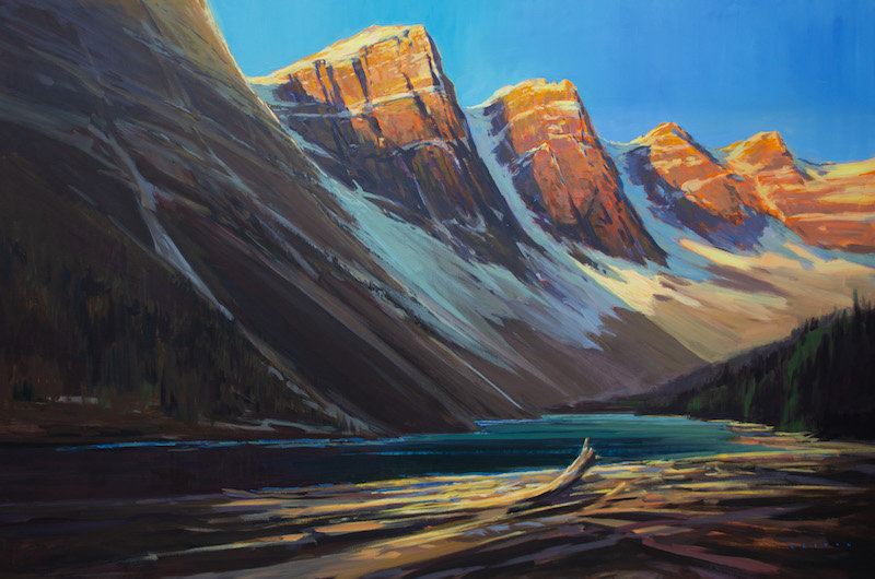 multi-colour arcylic painting titled The Power of Moraine Lake by artist charlie easton