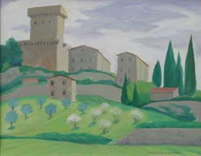 multi-colour oil painting titled The Tower at Sarteano 2000 by artist doris mccarthy.
