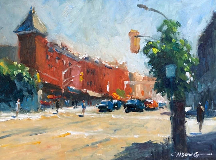 multi-colour oil painting titled Stratford Morning by artist peter cheung