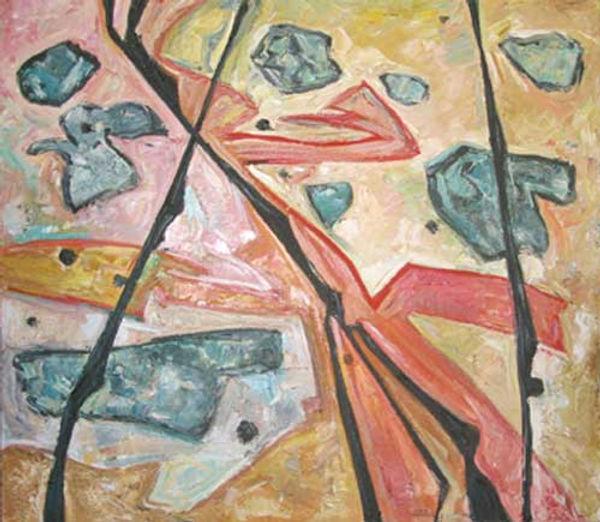 multi-colour oil painting titled Granite 1972 by artist doris mccarthy.