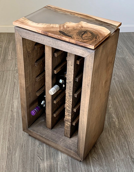 furninture titled Wood & Resin Wine Rack by artist benjamin mclaughlin.