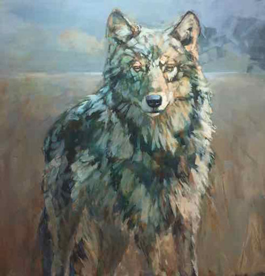 multi-colour acrylic painting titled Sentry by artist andrea moore.