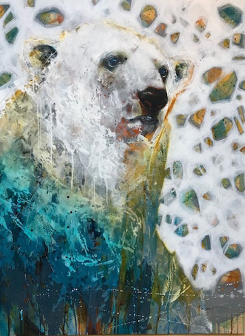 Multi-colour arcylic painting of a bear titled SOLD-Polar Pioneer by artist fran alexander