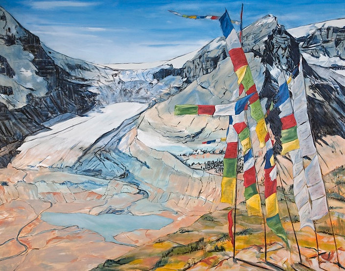 multi-colour mixed media painting titled The Columbia Ice fields by artist maureen enns