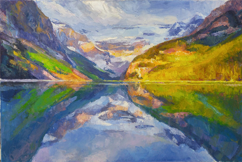 multi-colour oil painting titled Lakelouise emerald glow by artist michael downs