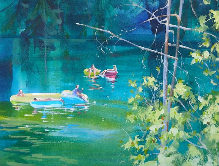 multi-colour arcylic painting titled SOLD-Floating Free by artist zoe evamy