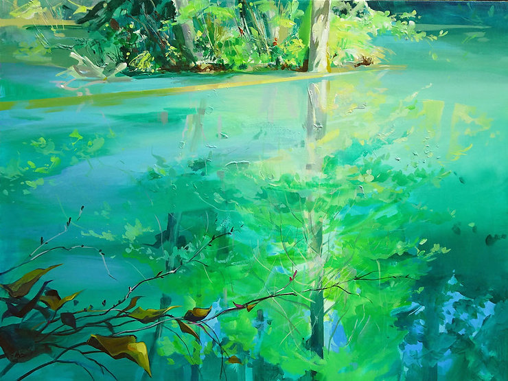 multi-colour arcylic painting titled Reflecting Pool by artist zoe evamy