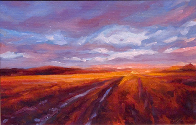 multi-colour oil painting titled Early Morning Hayfields' by artist michael downs