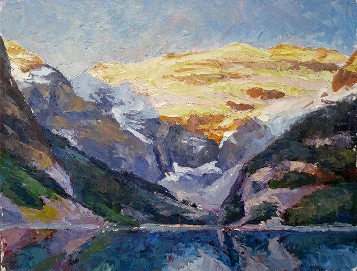 multi-colour oil painting titled Lake louise splendor 7 by artist michael downs