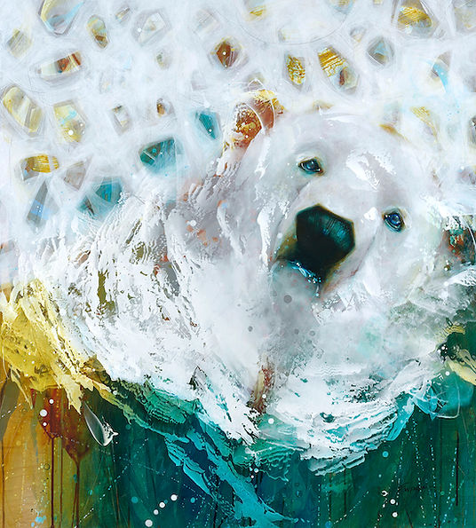Multi-colour arcylic painting of a bear titled SOLD-Arctic Bear by artist fran alexander