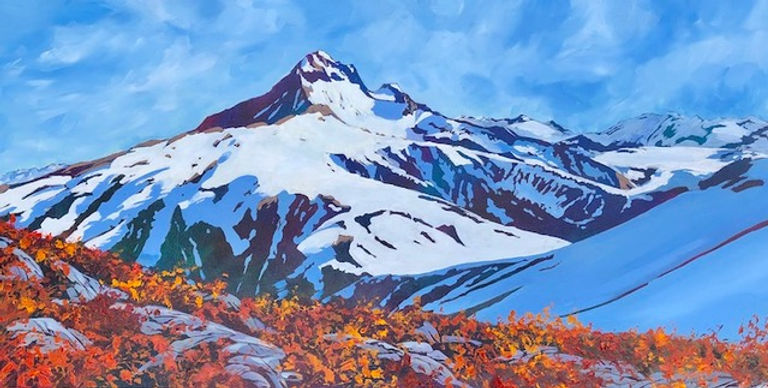 multi-colour acrylic painting titled My. Atwell with Garibaldi Behind - in the Fall by artist phillipa hudson.