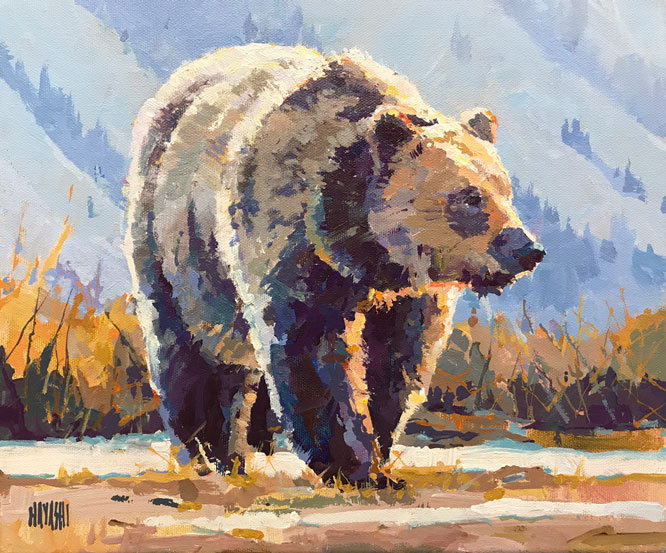 multi-colour arcylic painting titled SOLD-Bear-Marks by artist randy hayashi.